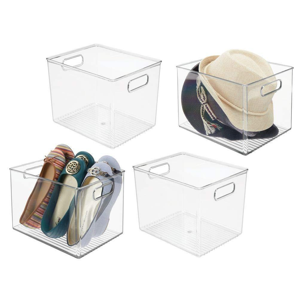 Results mdesign plastic home storage basket bin with handles for organizing closets shelves and cabinets in bedrooms bathrooms entryways and hallways 4 pack clear