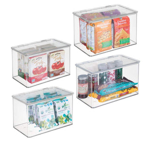 mDesign Plastic Stackable Food Storage Container Bin with Hinged Lid - for Kitchen, Pantry, Cabinet, Fridge/Freezer - Deep Organizer Box for Snacks, Produce, Pasta - BPA Free, 4 Pack - Clear