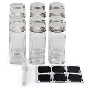 Set of 12 Square Glass Spice Jars with Shaker Tops, Chalkboard Labels & Pen, and Airtight Silver Metal Lids, Reusable Spice Containers w/ 4 Ounce Capacity for Organic Spices and Seasoning