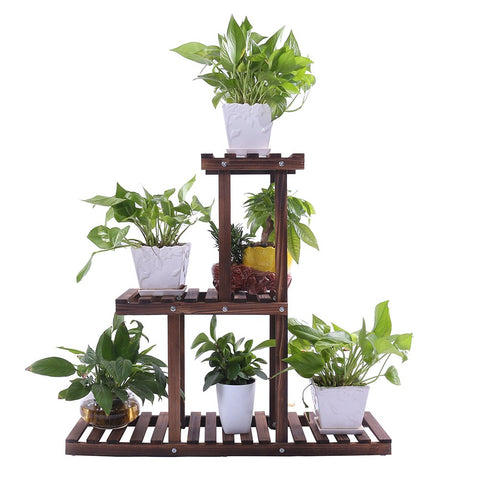 Ufine Wood Plant Stand Indoor Outdoor 3 Tier Vertical Carbonized Multiple Planter Holder Flower Ladder Stair Shelf Garden Balcony Patio Corner Pot Display Storage Rack