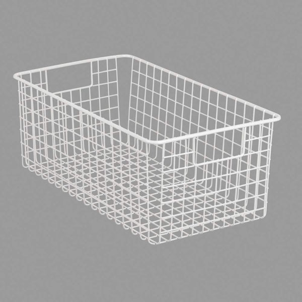 Top rated mdesign farmhouse decor metal wire food organizer storage bin basket with handles for kitchen cabinets pantry bathroom laundry room closets garage 16 x 9 x 6 in 4 pack matte white