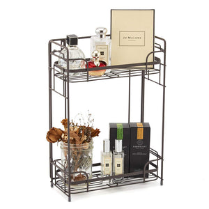 2-Tier Organizer Rack, EZOWare Wire Basket Storage Container Countertop Shelf for Kitchenware Bathroom Cans Foods Spice Office and more – Brown