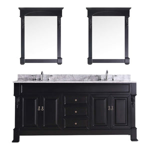 Great virtu usa gd 4072 wmsq dw huntshire 72 double bathroom vanity with marble top and square sink with mirrors 72 inches dark walnut