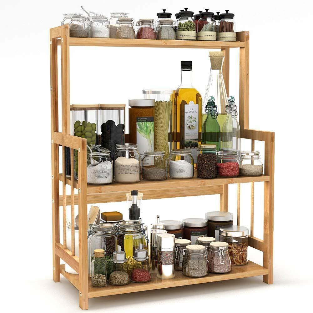 Exclusive 3 tier standing spice rack little tree kitchen bathroom countertop storage organizer bamboo spice bottle jars rack holder with adjustable shelf bamboo
