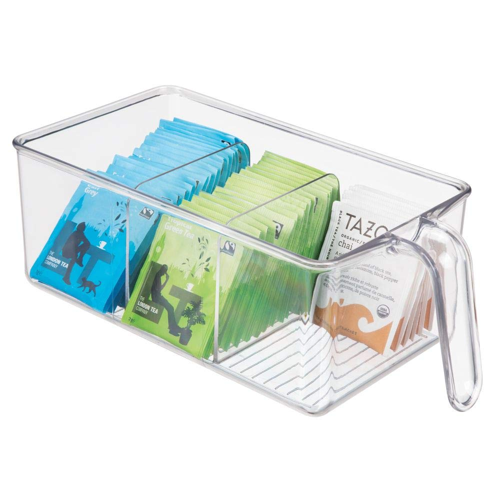 mDesign Plastic Kitchen Pantry Cabinet Refrigerator Food Storage Organizer Bin Holder with Handle - for Organizing Individual Packets, Snacks Food, Produce, Pasta - Medium - Clear