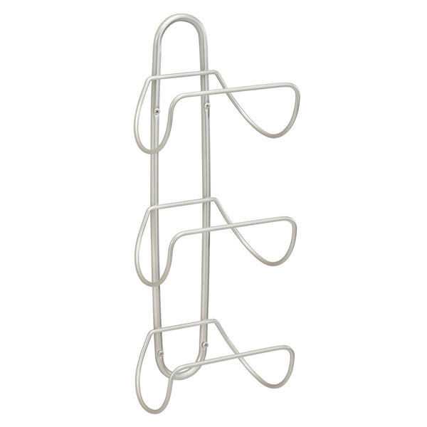 Save mdesign modern decorative metal 3 level wall mount towel rack holder and organizer for storage of bathroom towels washcloths hand towels 2 pack satin