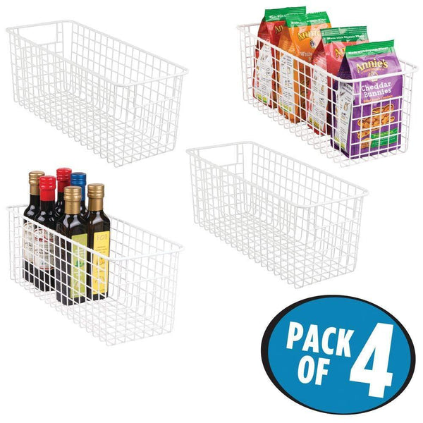 Great mdesign farmhouse decor metal wire food storage organizer bin basket with handles for kitchen cabinets pantry bathroom laundry room closets garage 16 x 6 x 6 4 pack matte white
