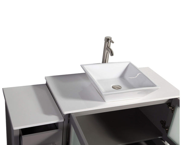 Results vanity art 48 inch single sink bathroom vanity combo modern cabinet with ceramic top sink free mirror gray va3136 48g
