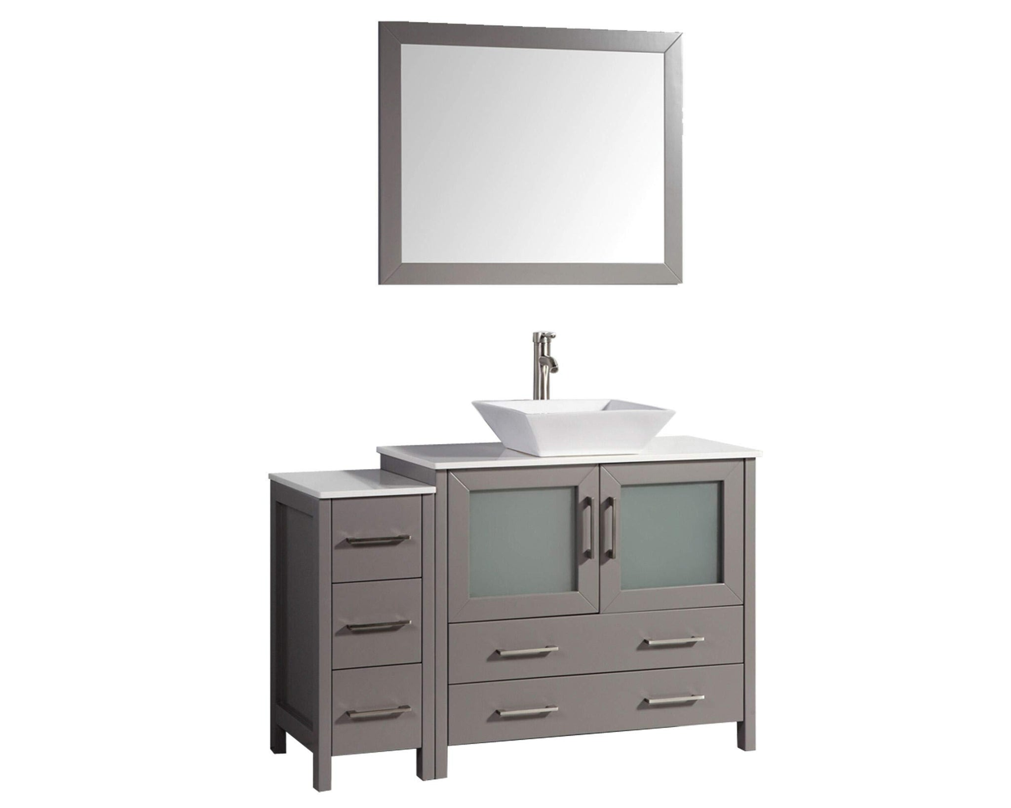 Products vanity art 48 inch single sink bathroom vanity combo modern cabinet with ceramic top sink free mirror gray va3136 48g