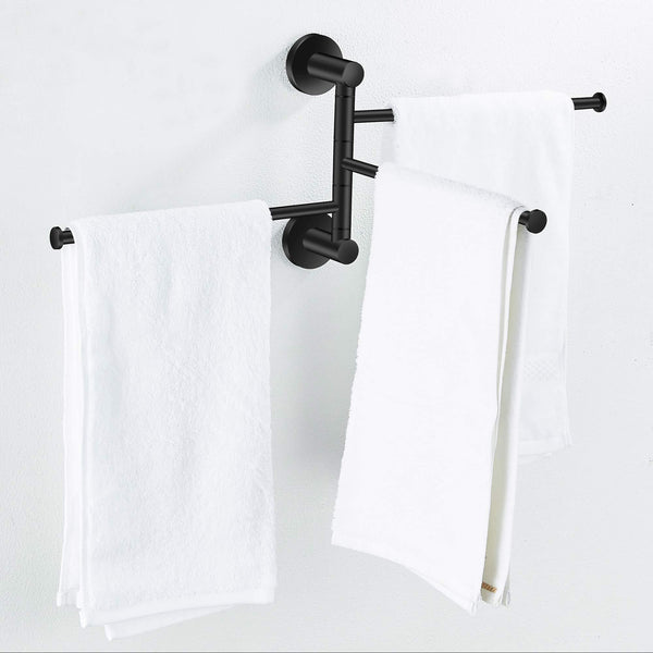 Featured towel rack bathroom swivel towel bar 3 multi fold able arms rotation organizer swing towel shelf space saving hanger kitchen hand towel holder wall mount stainless rubber matte black marmolux