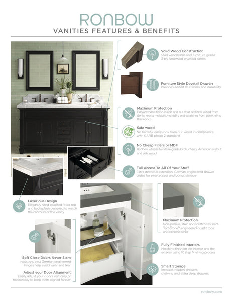 Select nice ronbow frederick 24 x 32 transitional solid wood frame bathroom medicine cabinet in black 2 mirrors and 2 cabinet shelves 618125 b02