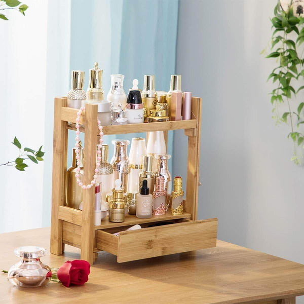 Storage pelyn makeup organizer cosmetic storage vanity shelf display stand rack with drawer ideal for bathroom sink countertop dresser natural bamboo