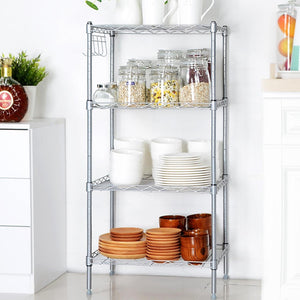 Dtemple 4- Shelf Wire Shelving Unit Height Adjustable Storage Organizer Rack, US Stock