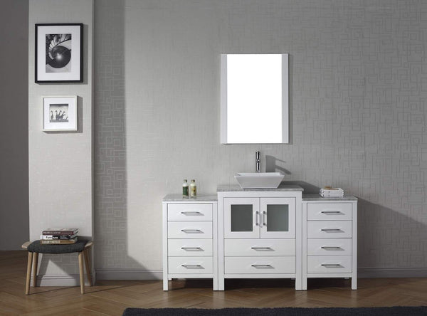 Budget friendly virtu usa dior 60 inch single sink bathroom vanity set in white w square vessel sink italian carrara white marble countertop single hole polished chrome 1 mirror ks 70060 wm wh