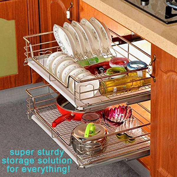 EvergoHome Roll Out Cabinet Organizer- Chrome Pull Out Cabinet Single Sliding Shelf -Side Mount Strong Loading Capacity Pull Out Shelf -Suitable for 24 Inches Wide Kitchen Cabinet (External)