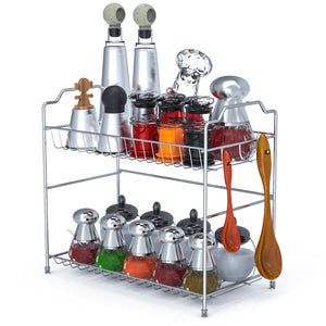 Spice Rack Organizer, Packism 2 Tier Bathroom Countertop Organizer with 3 Hooks Kitchen Cabinet Shelf Storage Cabinet Organizer Spice Jars Bottle Holder, Metal, Silver