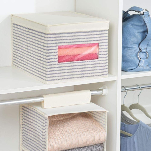 Kitchen mdesign soft fabric stackable closet storage organizer holder box with clear window attached hinged lid bedroom hallway entryway closet bathroom stripe print large 8 pack natural cobalt blue
