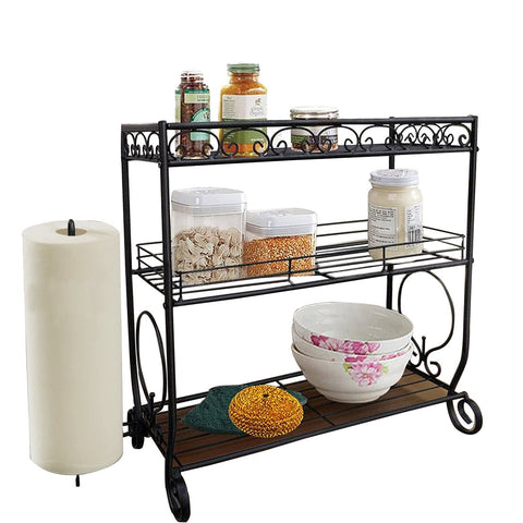 VANRA 3 Tier Spice Rack Kitchen Spice Stand Holder Jars Storage Organizer Shelf Rack with Tissue Dispenser Rack/Bathroom Paper Towel Holder & Towel Bar (Black)