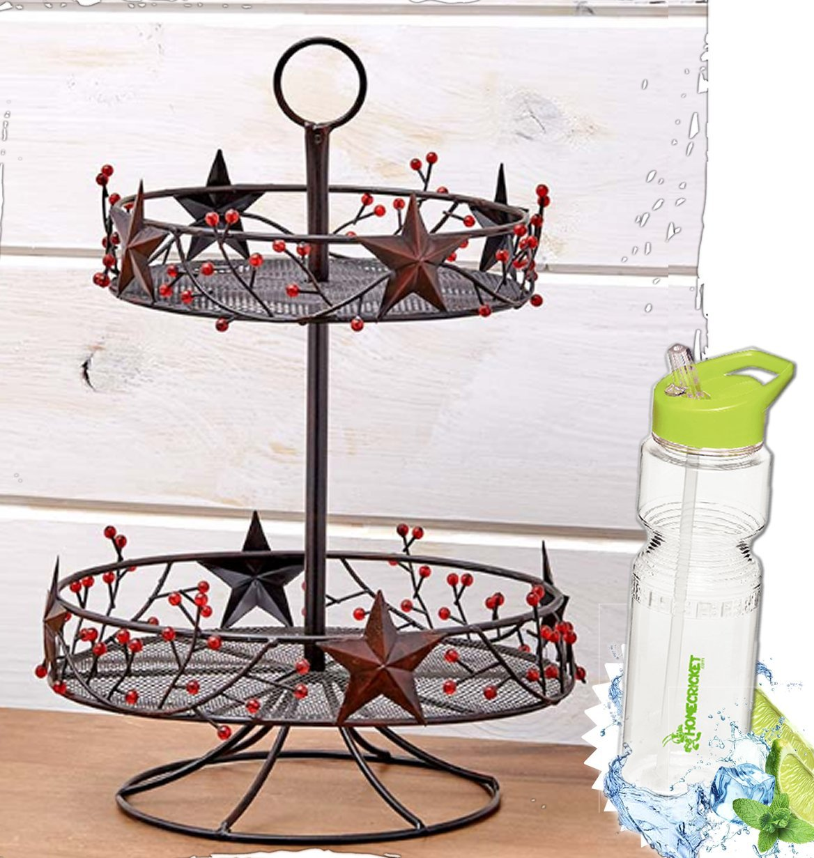 Gift Included- Decorative Stars & Berries Country Style Kitchen Decor Organizers + FREE Bonus Water Bottle by Homecricket (Wall Mount Paper Towel Holder)