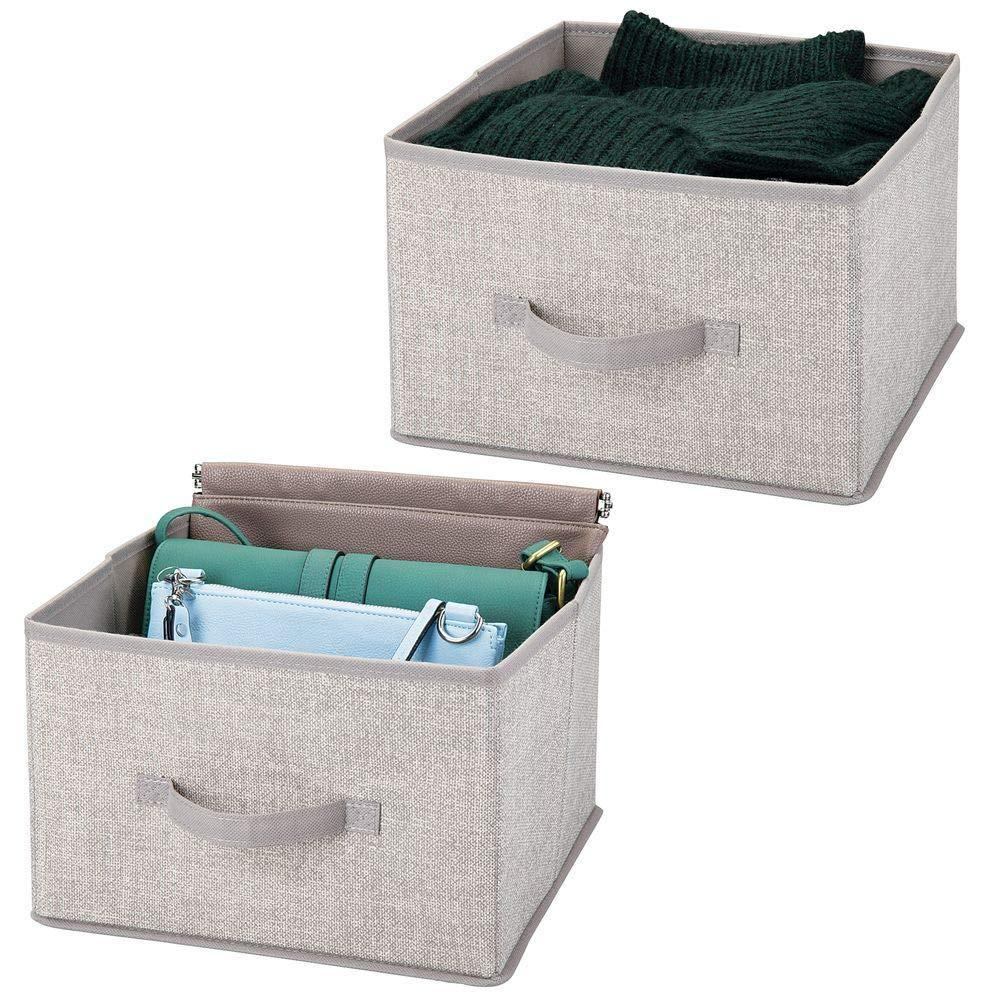 Results mdesign soft fabric closet storage organizer holder cube bin box open top front handle for closet bedroom bathroom entryway office textured print 2 pack linen tan