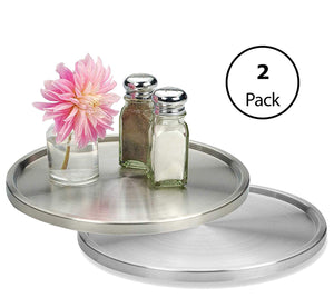 1 Tier Lazy Susan 2 Pack: Stainless Steel 360 Degree Turntable – Rotating 2-Level Tabletop Stand For Your Dining Table, Kitchen Counters And Cabinets – Turning Table Spice Rack Organizer Tray - 2 Pack