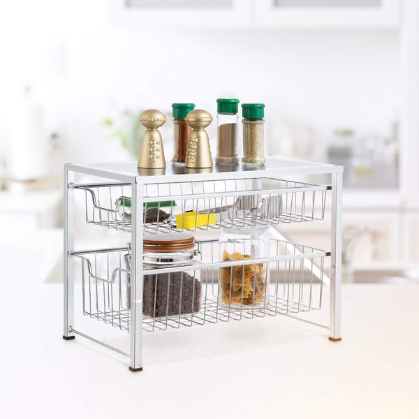 On amazon bextsware under sink cabinet organizer with 2 tier wire grid sliding drawer multi function stackable mesh storage organizer for kitchen counter desktop bathroomchrome