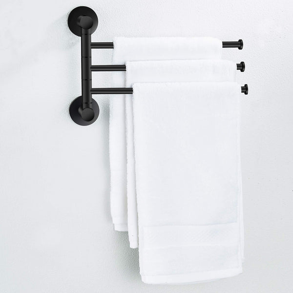 Great towel rack bathroom swivel towel bar 3 multi fold able arms rotation organizer swing towel shelf space saving hanger kitchen hand towel holder wall mount stainless rubber matte black marmolux