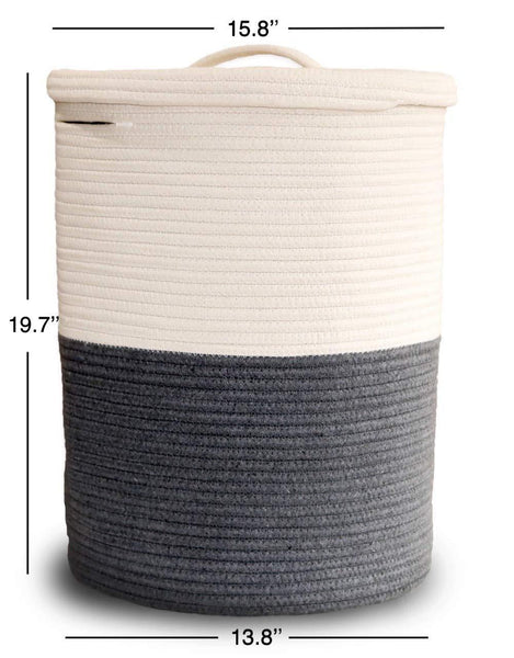 Related extra large cotton rope laundry basket with lid laundry hamper with lid woven storage organizer for blankets pillows towels clothes toys baby nursery bathroom living room kitchen dark gray white