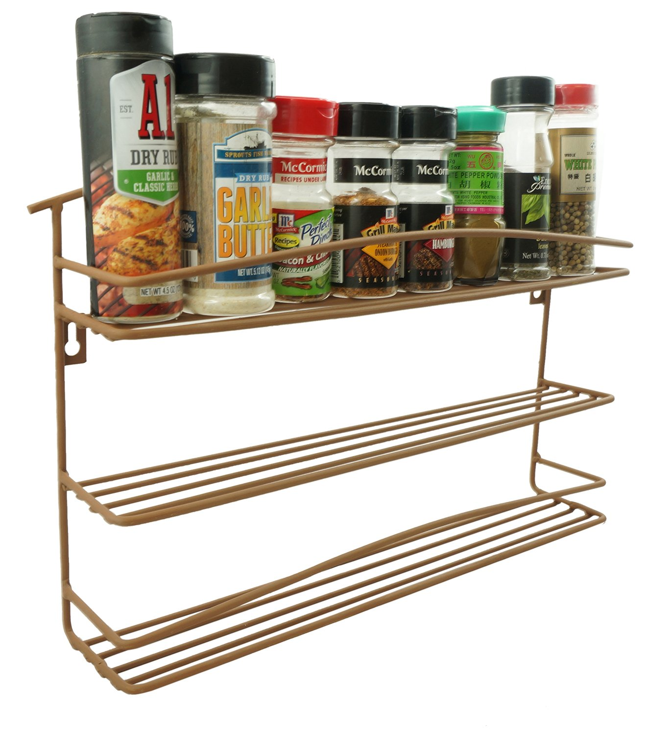 "Wall Mount 3 Tier Metal Spice and Grinder Rack Kitchen Metal 2.5"" Spice Organizer Pantry Cabinet Hanging 2.5 inch Diameter Spice and Grinder Storage Counter Top Organizer Raw Rustic Brown"