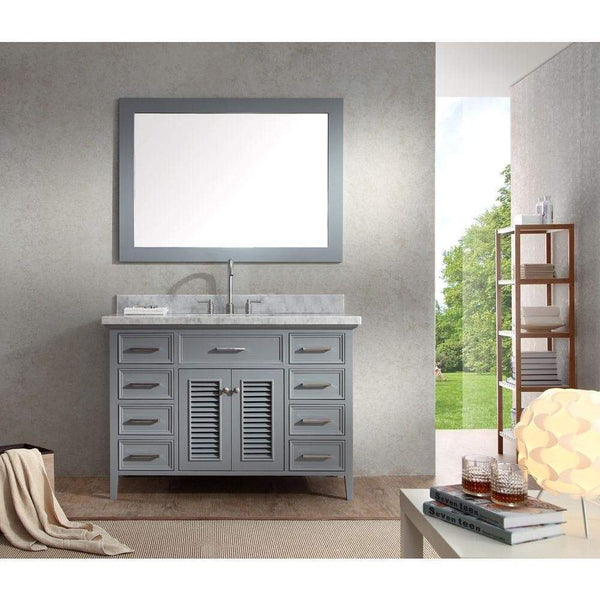 On amazon ariel kensington d049s gry 49 inch solid wood single sink bathroom vanity set in grey with white carrara marble countertop