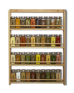 EmejiaSales Oak Spice Rack Wall Mount Organizer 4 Tier, Solid Oak Wood With Natural Finish, Seasoning Storage for Pantry and Kitchen - Holds 36 Herb Jars