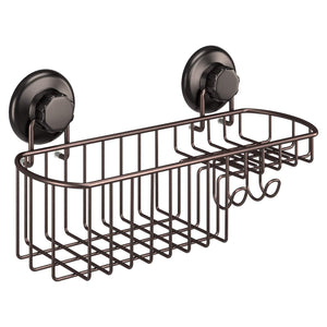 Discover hasko accessories powerful vacuum suction cup shower caddy basket for shampoo combo organizer basket with soap holder and hooks stainless steel holder for bathroom storage bronze