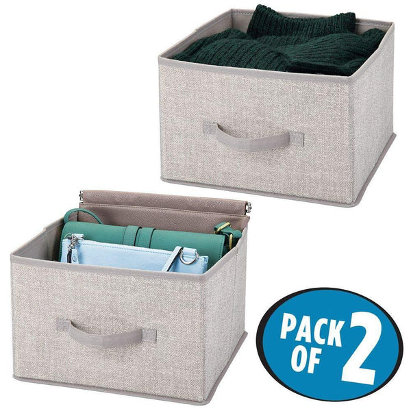 Shop mdesign soft fabric closet storage organizer holder cube bin box open top front handle for closet bedroom bathroom entryway office textured print 2 pack linen tan