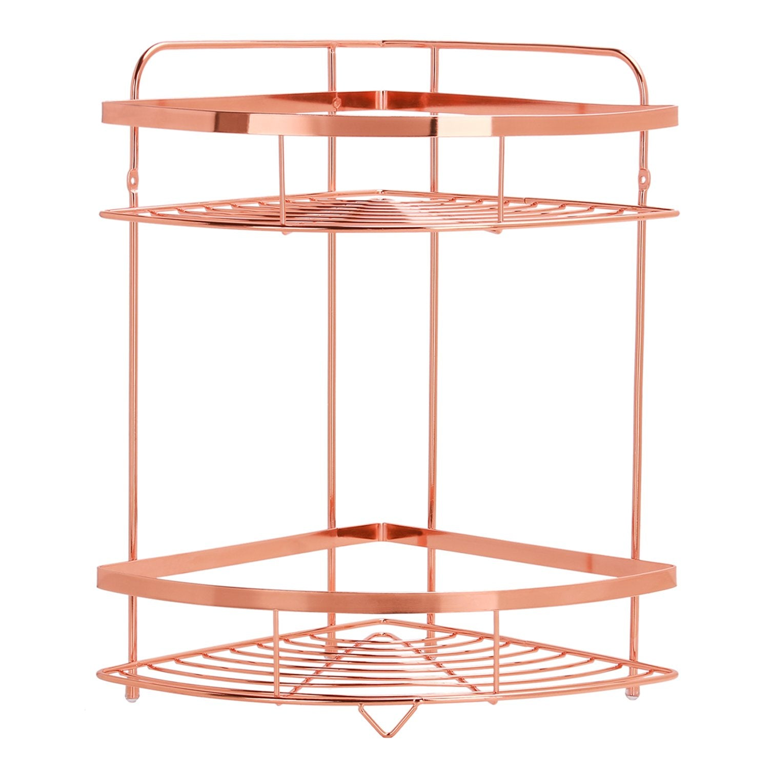 "Simmer Stone 2 Tier Corner Shelf, Wall Mount/Free Standing Home & Kitchen Storage Rack Spice Rack for Corner, Size 9.5""X9.5""X14.5""(LxWxH), Copper"