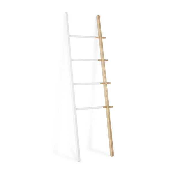 The best umbra hub ladder adjustable clothing rack for bedroom or freestanding towel rack for bathroom expands from 16 to 24 inches with 4 notched hooks white natural