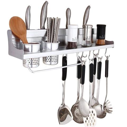 Wall Pot Rack,Haoweiming Wall Hanging Shelf 23 inch Kitchen Cookware Organizer with 10 Pot Hook & 4 Knife Holder & 2 Utensil Cup & Spice Rack & Towel Rack for RV/ Hotel /Restaurant /Bar (Aluminum)