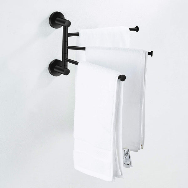 Get towel rack bathroom swivel towel bar 3 multi fold able arms rotation organizer swing towel shelf space saving hanger kitchen hand towel holder wall mount stainless rubber matte black marmolux