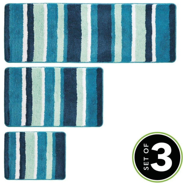 Buy now mdesign soft microfiber polyester spa rugs for bathroom vanity tub shower water absorbent machine washable plush non slip rectangular accent rug mat striped design set of 3 sizes teal blue