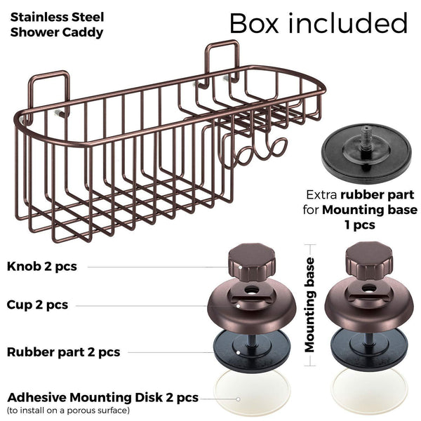 Discover the best hasko accessories powerful vacuum suction cup shower caddy basket for shampoo combo organizer basket with soap holder and hooks stainless steel holder for bathroom storage bronze