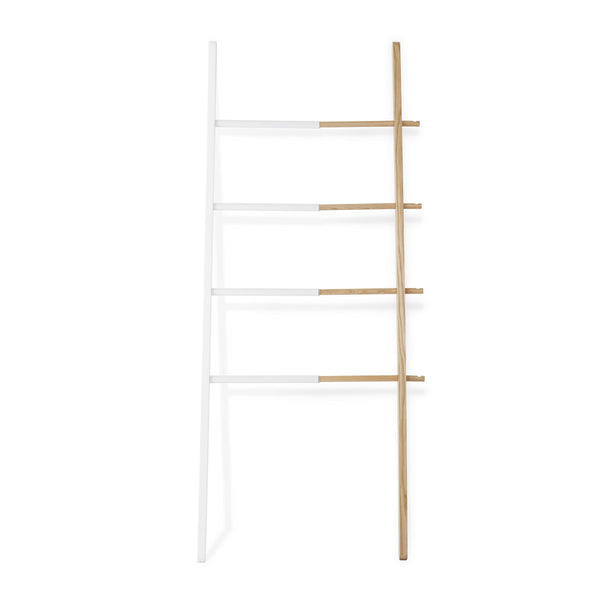 Top umbra hub ladder adjustable clothing rack for bedroom or freestanding towel rack for bathroom expands from 16 to 24 inches with 4 notched hooks white natural