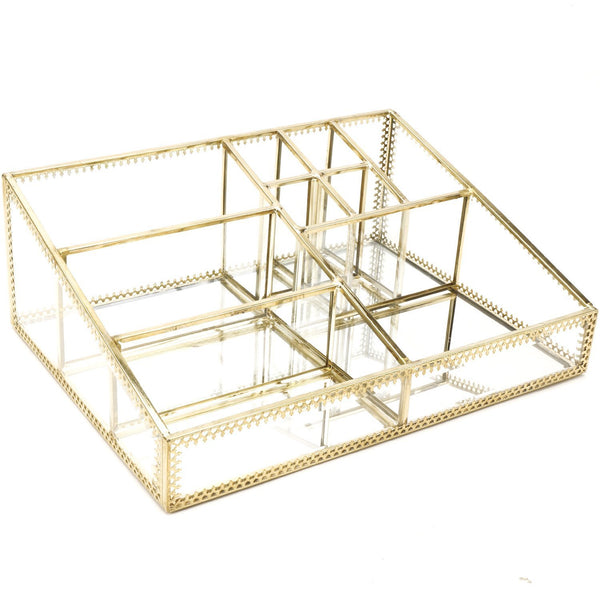 Save hersoo gold mirrored vanity tray glass makeup display organizer dresser comestic storage for palette lipstick brushes skincare perfumes bathroom accessories
