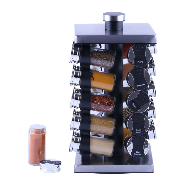 Orii GSR3920 Rotunda 20 Jar Spice Rack, silver, black