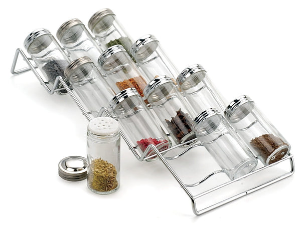 "Spice Rack and 12-Bottle Set - Endurance (Chrome) (3.25""h x 6.50""w x 17""L)"