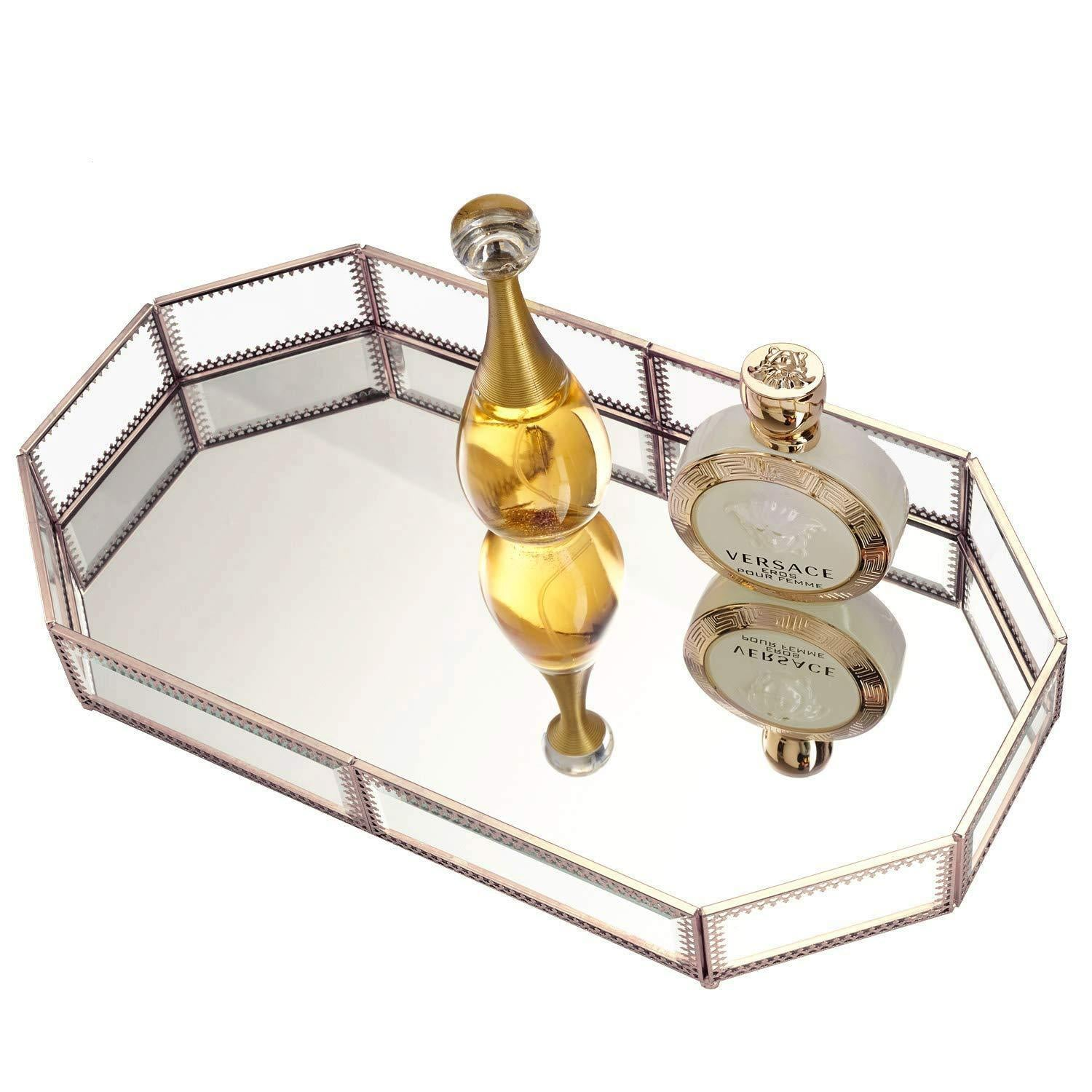 Top rated hersoo large classic vanity tray ornate decorative perfume elegant mirrorred tray for skincare dresser vintage organizer for bathroom countertop bathroom accessories organizer brass