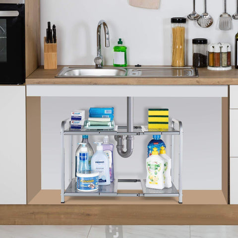 Latest bextsware metal under sink 2 tier expandable shelf organizer rack adjustable height and position 7 removable shelves expandable 18 to 25for kitchen bathroom cabinets storage chrome