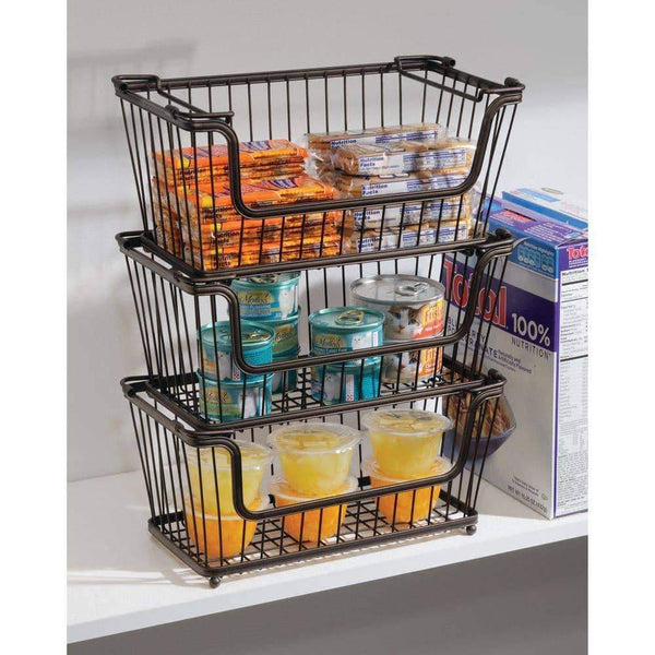 Select nice mdesign modern farmhouse metal wire household stackable storage organizer bin basket with handles for kitchen cabinets pantry closets bathrooms 12 5 wide 6 pack bronze