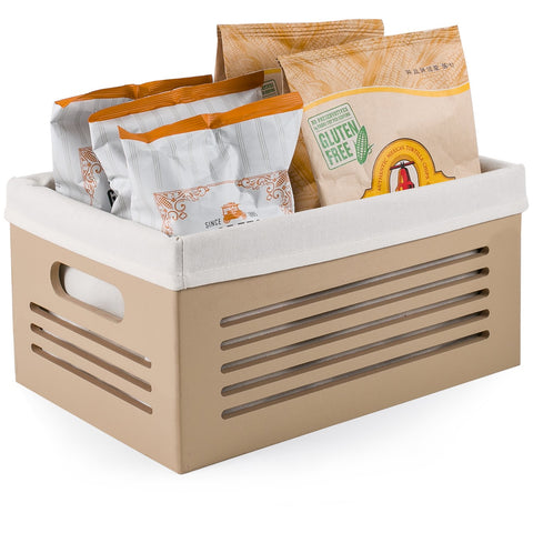 Wooden Storage Bin Container - Decorative Closet, Cabinet and Shelf Basket Organizer Lined with Machine Washable Soft Linen Fabric - Tan, Medium