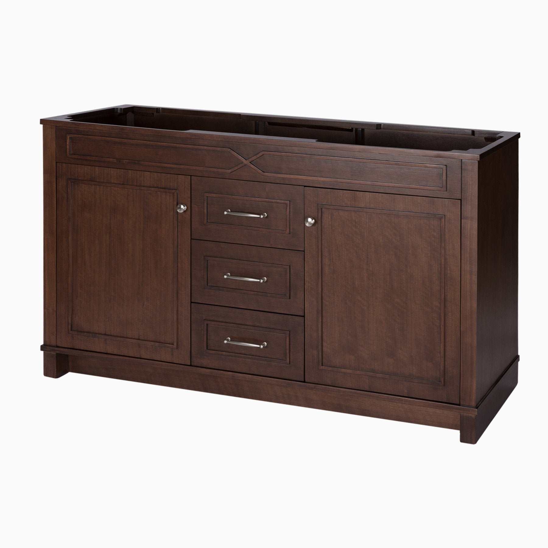 Organize with maykke abigail 60 bathroom vanity cabinet in birch wood american walnut finish double floor mounted brown vanity base cabinet only ysa1156001