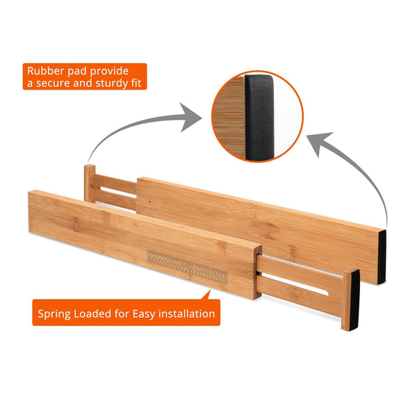 Online shopping luckyshe bamboo drawer dividers adjustable spring kitchen drawer dividers expandable eco friendly drawer organizers and dividers for kitchen dresser bathroom desk bedroom pack of 4