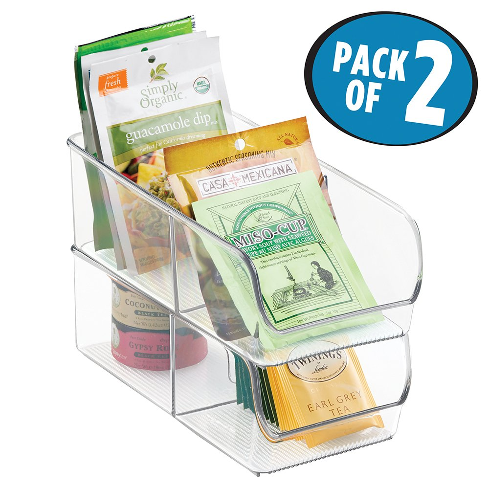 mDesign Spice Packet Organizer Bin for Kitchen Pantry, Cabinet, Countertops - Pack of 2, Clear